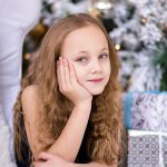 girl, tree, tween, holiday, christmas, gifts